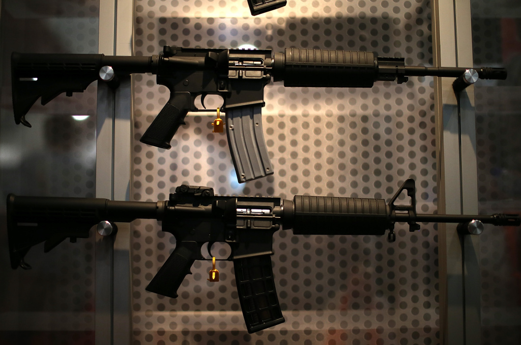 Assault rifles are displayed during the 2013 NRA Annual Meeting and Exhibits at the George R. Brown Convention Center on May 4, 2013 in Houston, Texas.