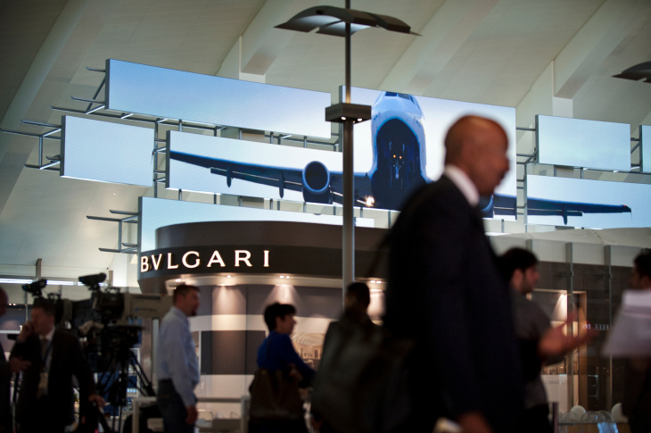 Los Angeles International Airport previews the new Tom Bradley International Terminal on Thursday for the media. The 150,000 square-foot Great Hall includes 60 new luxury retail shops and gourmet dining.