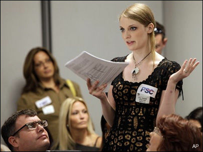 Adult film actress Ela Darling speaks in this June 2011 file photo in Los Angeles, where the use of condoms during film production was discussed.