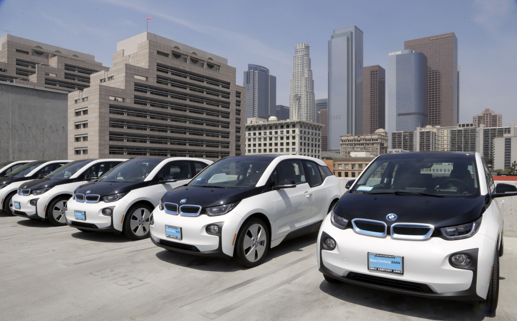 Electric Cars Are Parked Atop The Los Angeles Police Department Parking Lot In