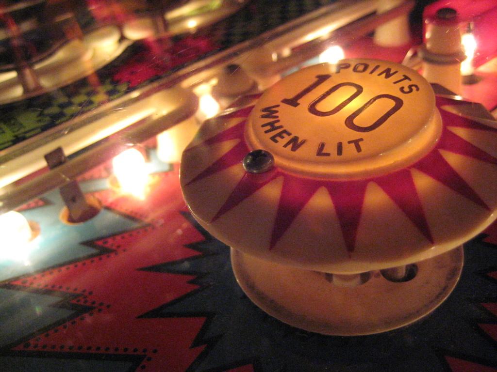 A pinball machine.