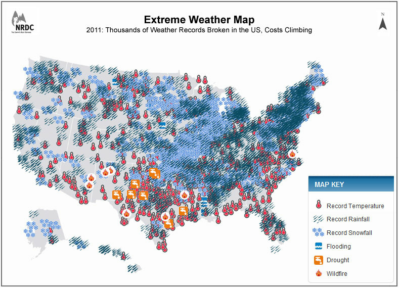 The NRDC created an interactive map of extreme weather events from 2011.