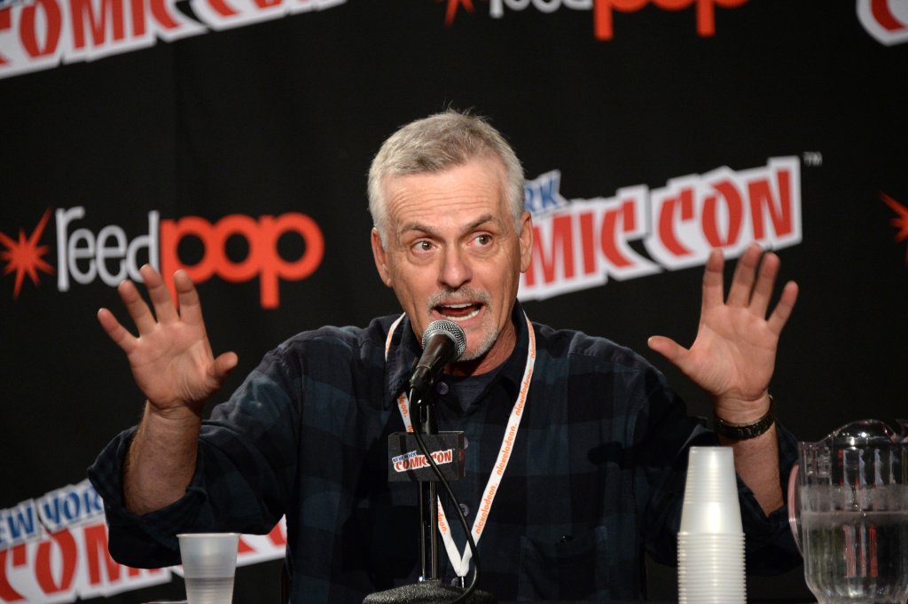 NEW YORK, NY - OCTOBER 10:  Rob Paulsen speaks onstage during Nickelodeon's TMNT panel during New York Comic Con at the Jacob Javits Center on October 10, 2014 in New York City.  (Photo by Ben Gabbe/Getty Images for Nickelodeon)
