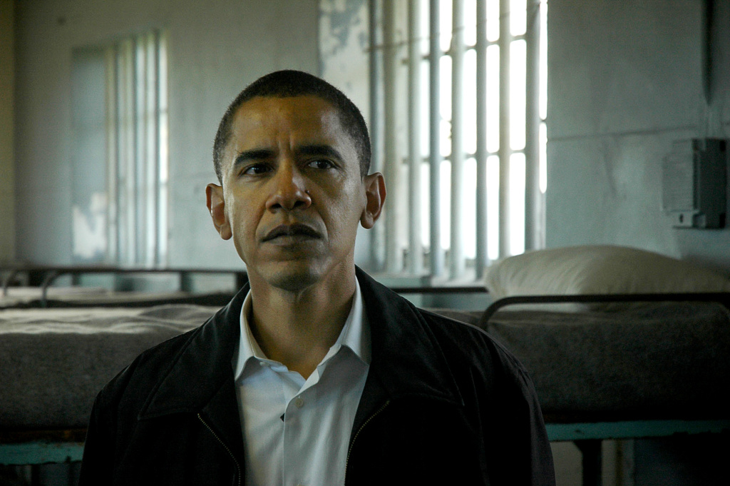 Barak Obama, US senator for Illinois, stands 20 August 2006, on Robben Island, about six kilometres from the city, in Table Bay. Obama was visiting the island prison museum, where Nelson Mandela was imprisoned for about 18 years, as part of a larger visit to the country.