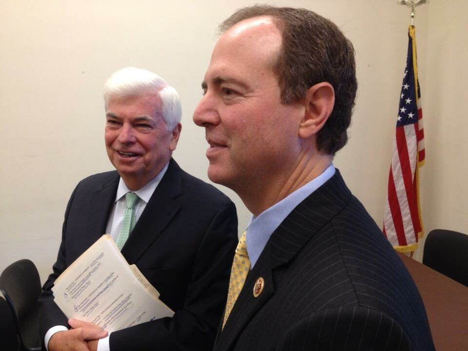 Former Sen. Chris Dodd, who now heads the Motion Picture Association of America, and Rep. Adam Schiff (D-Glendale) talk movies on Capitol Hill.