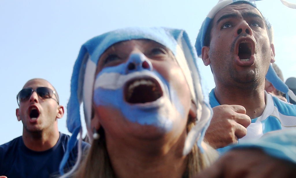 Argentina fans celebrate after Argentina scores against Iran during the FIFA Fan Fest on June 21, 2014 in Rio de Janeiro, Brazil. Argentina defeated Iran 1-0 on the tenth day of the 2014 FIFA World Cup.