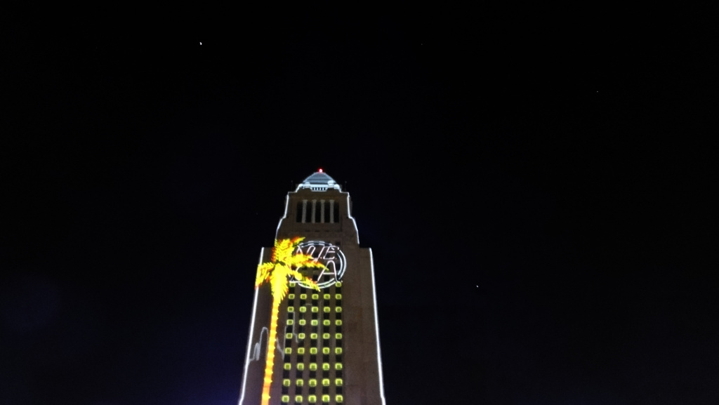 This file photo was taken from a New Year's Eve celebration in 2014 at Grand Park in downtown Los Angeles.