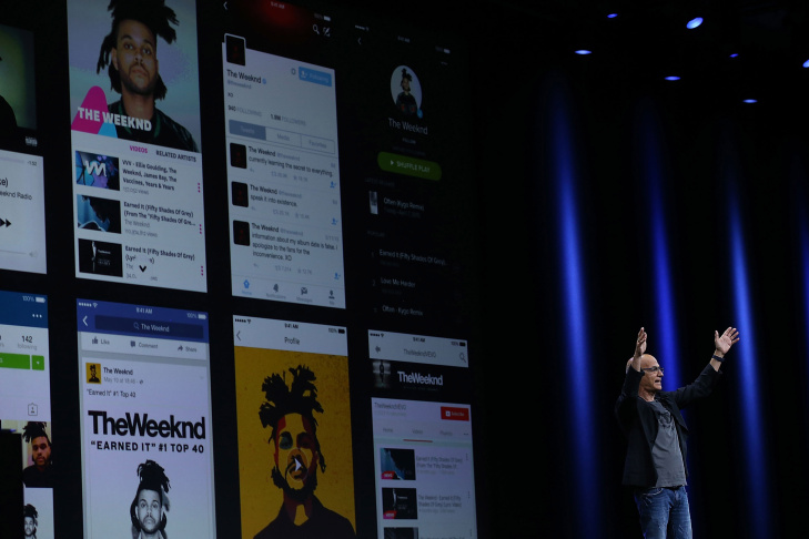 Apple's senior vice president of Internet Software and Services Eddy Cue (L) high fives with recording artist Drake during the Apple Music introduction at the Apple WWDC on June 8, 2015 in San Francisco.