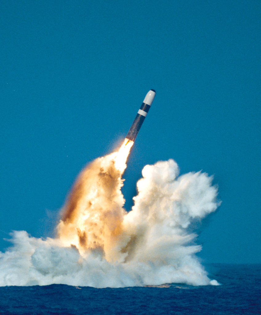 A Trident Ii or D-5 missile is launched from an Ohio-class submarine.