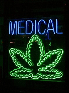 Neon sign at a medical marijuana clinic