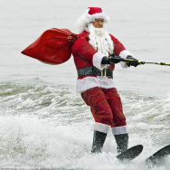 US-CHRISTMAS-OFFBEAT-WATER SKIING SANTA