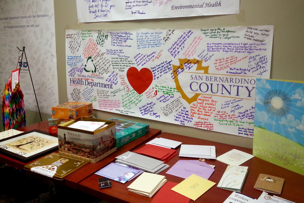 The San Bernardino Environmental Health Services Staff has received hundreds of cards, numerous banners and lots of love and support from all over the country and the world. They are on display in the division breakroom. EHS was the target of a mass shooting on Dec. 2 that killed 14 and injured 22.