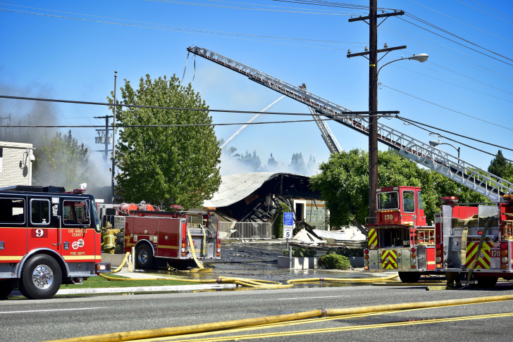 A structure fire at the Animo South Los Angeles Charter High School Tuesday afternoon caused a roof collapse and large response from the Los Angeles County Fire Department.