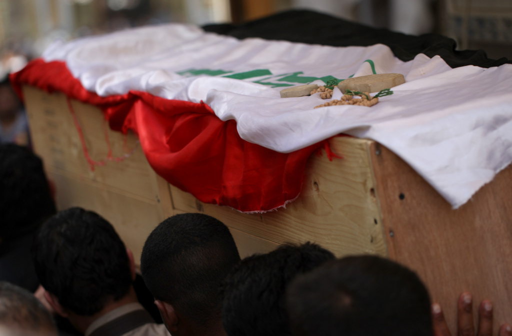 Iraqi Shiite mourners carry the coffin of a soldier killed in clashes with anti-government fighters in Fallujah earlier this month. The government faces a months-long crisis in Anbar province, where it has lost the city of Fallujah as well as shifting parts of provincial capital Ramadi to anti-government militants.