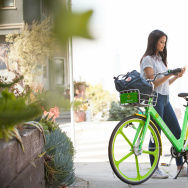 With dockless bike sharing, users find bicycles with a smart phone app and can rent bikes without checking them out through a kiosk.