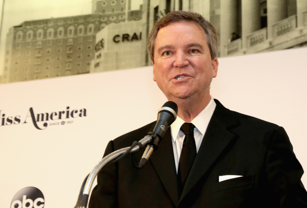 Executive Chairman Sam Haskell, III speaks during the 2018 Miss America Competition Press Conference at Boardwalk Hall Arena on September 10, 2017 in Atlantic City, New Jersey.