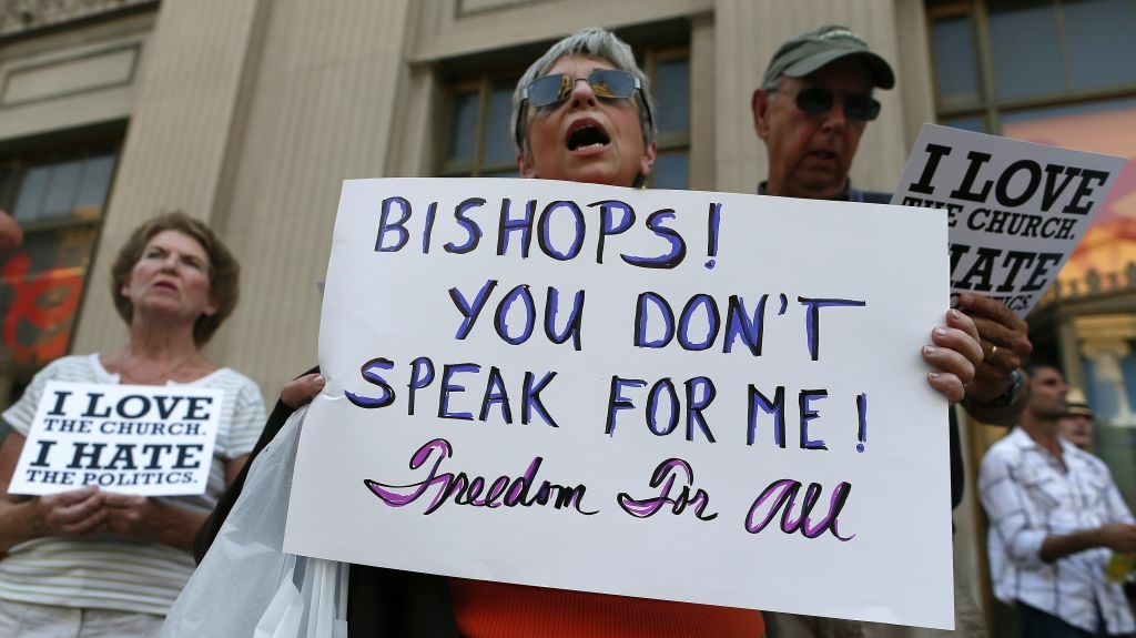 Protesters in Baltimore rally against the kickoff of Fortnight for Freedom, sponsored by the U.S. Conference of Catholic Bishops. The bishops say the campaign is a response to government attacks on religious liberty, but critics say it's an attack on the Obama administration.