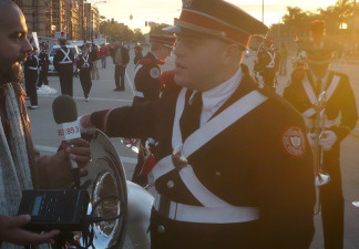 "Ohio State Sousaphone player Cory Near explains ""dotting the i"" to KPCC's Brian Watt."