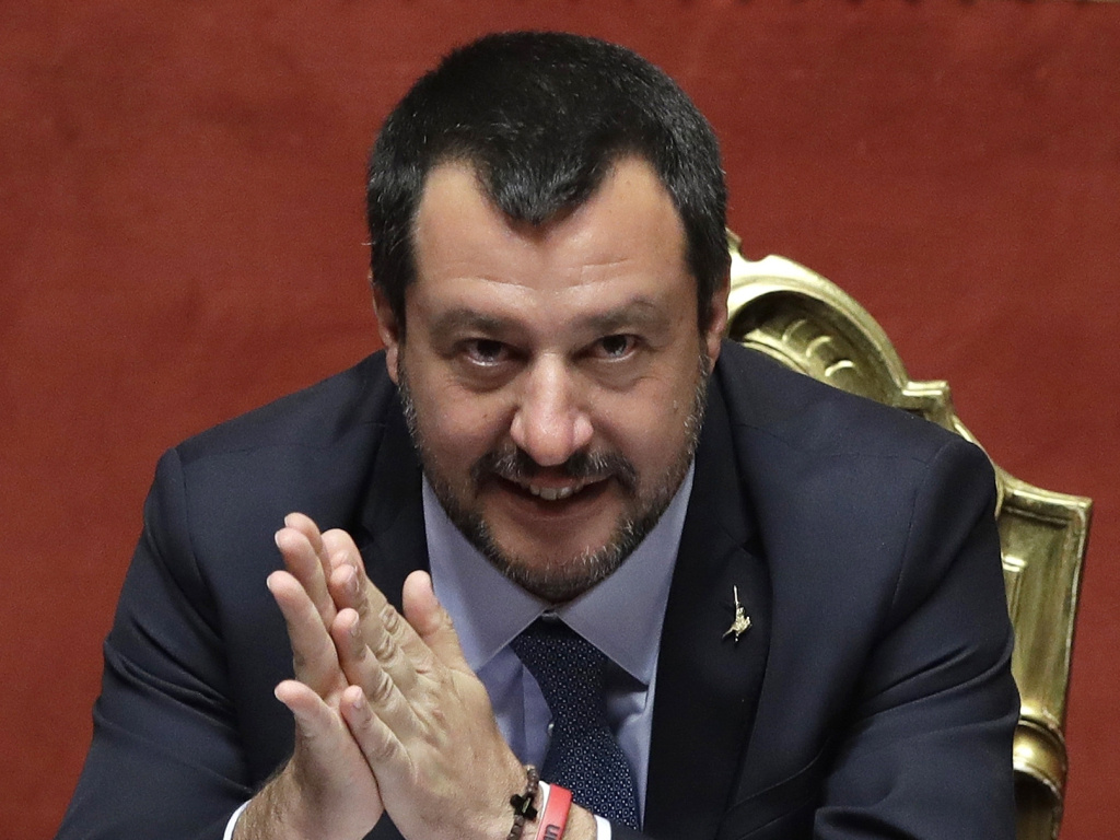 In this March 20 photo, Italian Interior Minister Matteo Salvini sits at the Italian Senate, in Rome.