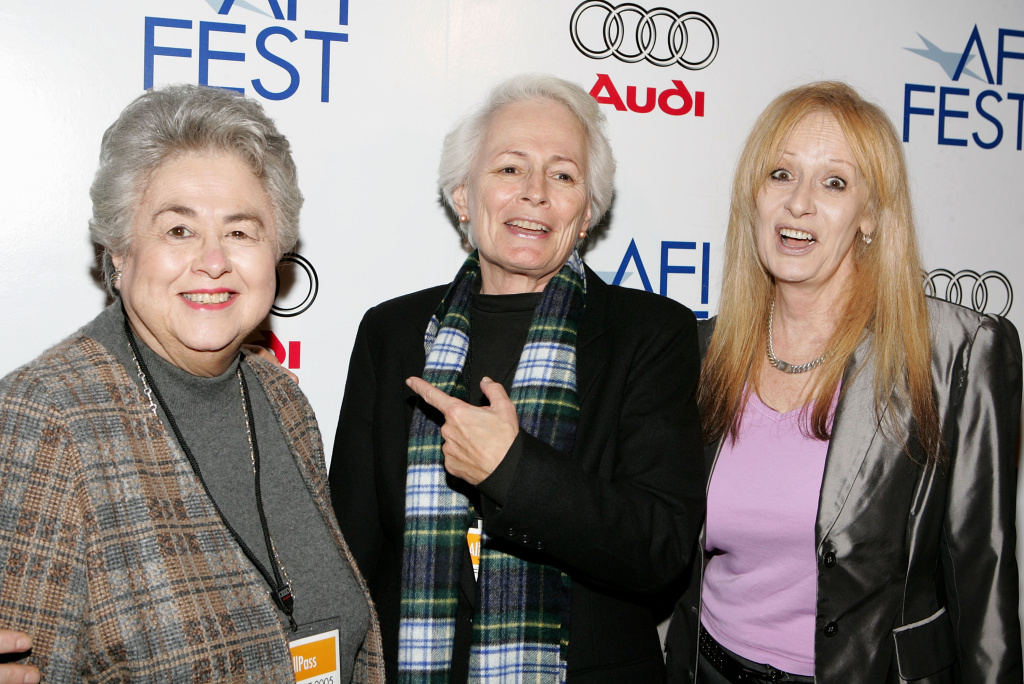 Roz Wyman (left) attends the premiere of the film