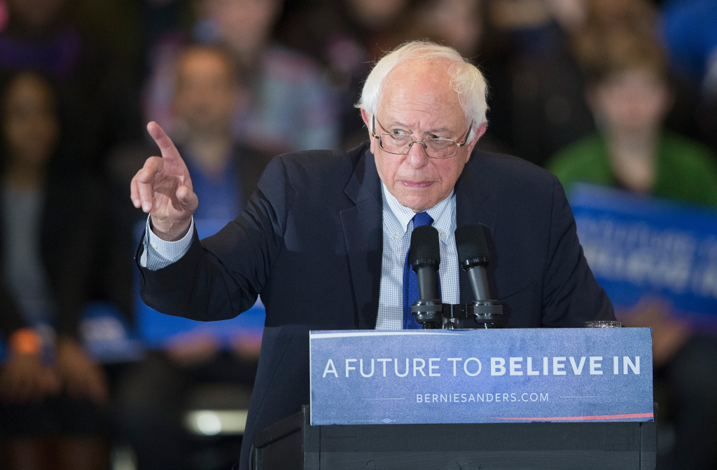 Democratic presidential candidate Senator Bernie Sanders (D-VT) speaks to guests at a campaign rally at the Wisconsin Convention Center on April 4, 2016 in Milwaukee, Wisconsin.