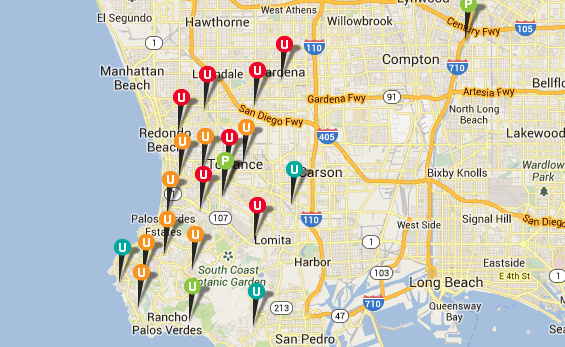 A screenshot of SoCal Edison's outage map shows power out for thousands of South Bay customers.
