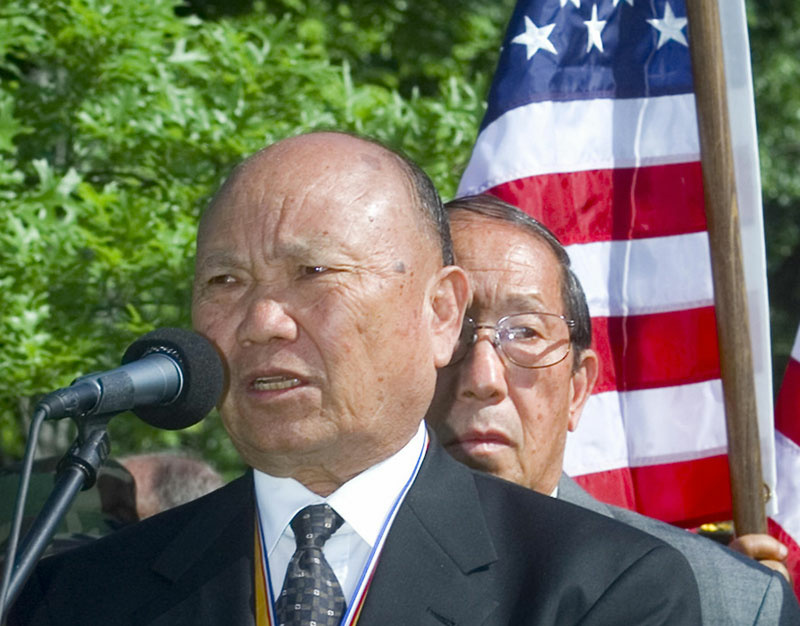 A file photo taken 11 May 2000 shows former Hmong general Vang Pao talking after laying a wreath at the Vietnam Memorial in Washington, DC, marking the 25th anniversary of the end of the Vietnam War in Laos.