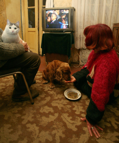 A Georgian family and their pets watch t