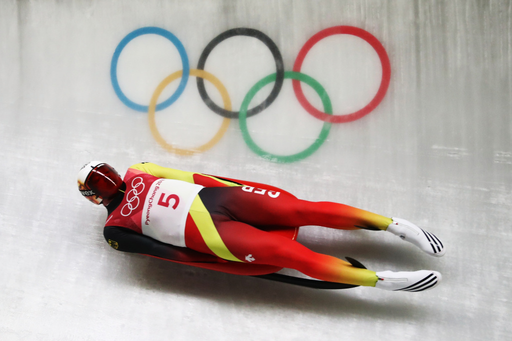 Felix Loch of Germany slides during the Men's Singles Luge on day one of the Pyeongchang 2018 Winter Olympic Games at Olympic Sliding Centre on February 10, 2018 in Pyeongchang, South Korea.
