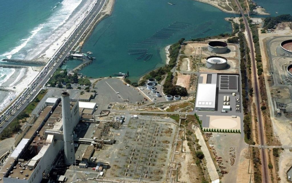 This image provided by the San Diego County Water Authority shows an artist rendering of a proposed desalination plant, center right, superimposed over an aerial photograph, in Carlsbad, Calif.  The proposed plant will be the Western Hemisphere's largest desalination plant.