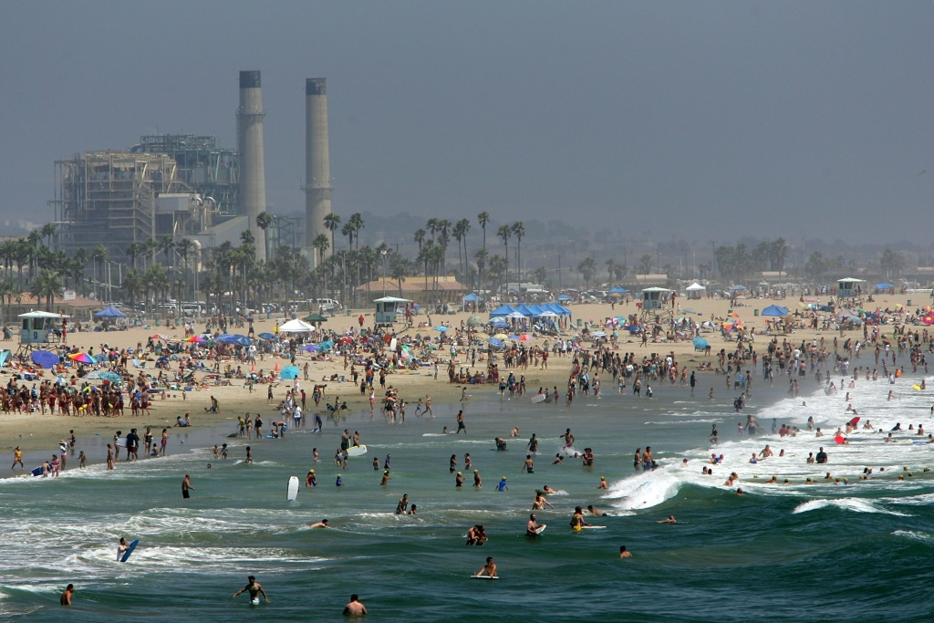 Swimmers find relief from the heat on July 21, 2006 in Huntington Beach, California.