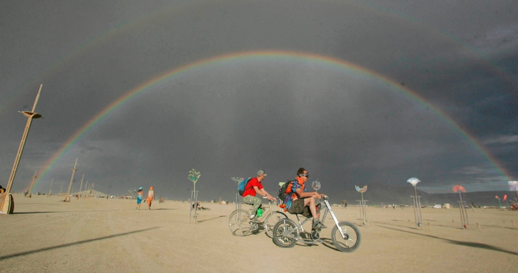 A rainbow is cast over the Black Rock Desert in Gerlach, Nev., during the Burning Man festival on Friday, Aug. 31, 2007.