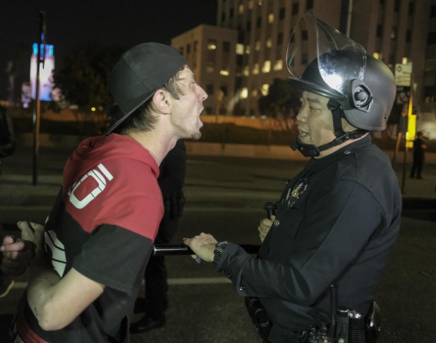 Police say about 185 people were arrested in Los Angeles during a third night of protests over the presidential election of Donald Trump.