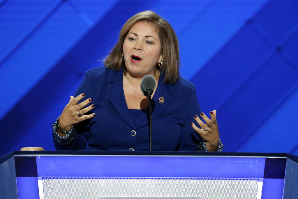 "FILE - In this July 25, 2016 file photo, Rep. Linda Sanchez, D-Calif., speaks during the first day of the Democratic National Convention in Philadelphia. One current and three former female members of Congress tell The Associated Press they have been sexually harassed or subjected to hostile sexual comments by their male colleagues while serving in the House. ""When I was a very new member of Congress in my early thirties, there was a more senior member who outright propositioned me, who was married, and despite trying to laugh it off and brush it aside it would repeat. And I would avoid that member,"" said Sanchez. (AP Photo/J. Scott Applewhite, File)"