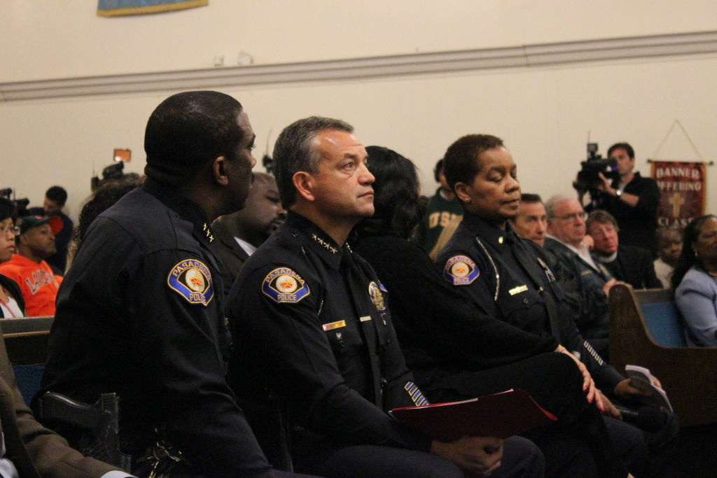 At the New Revelation Missionary Baptist Church, Pasadena Police Chief Phillip Sanchez answered community questions about the Kendrec McDade police shooting.