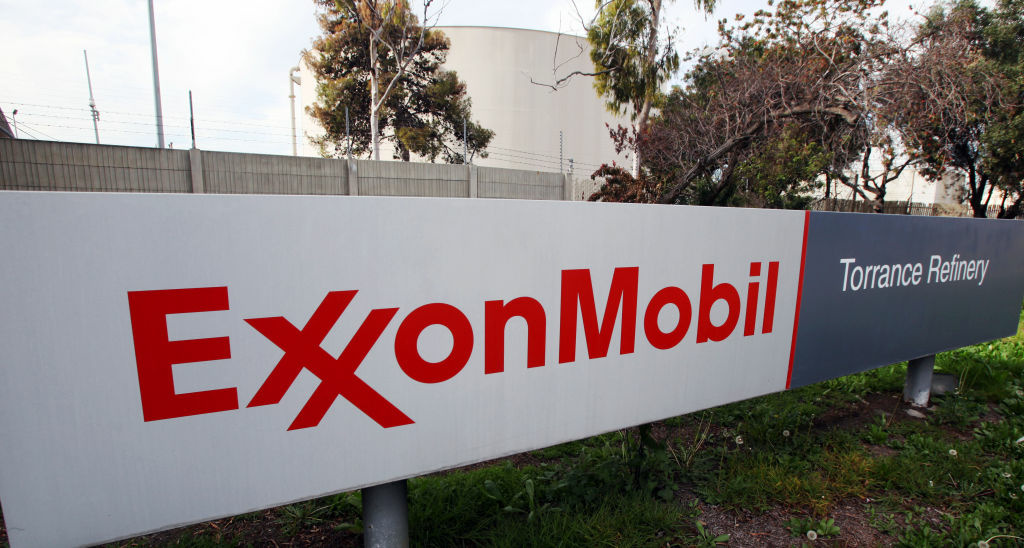 This Jan. 30, 2012 photo, shows the sign for the ExxonMobil Torerance Refinery in Torrance, Calif.