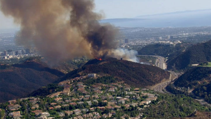 Fire near the Getty Center close to the 405 freeway on Friday.