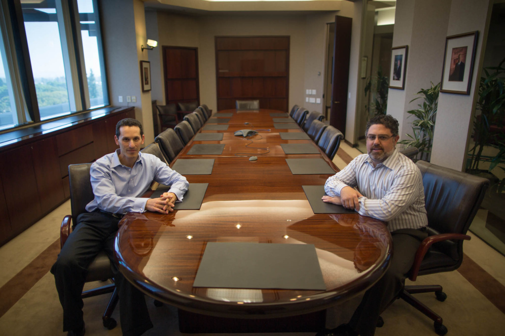 Orange County Register Publisher Aaron Kushner (left) and company President Eric Spitz. Kushner is also the publisher of the Los Angeles Register.