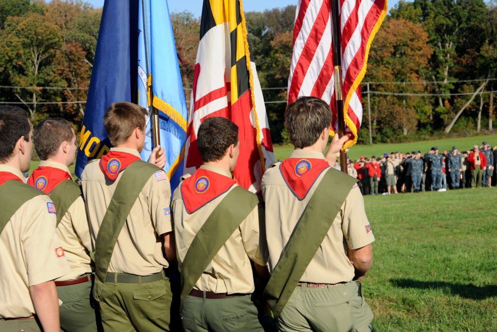 A boy scout troop.