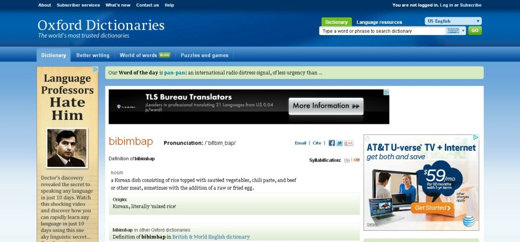 A screenshot of the Oxford Dictionaries Online (ODO) website entry for the word