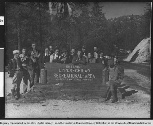Photograph of the Roamer Hiking Club at Upper Chilao Recreational Area in Angeles National Forest, ca.1930.