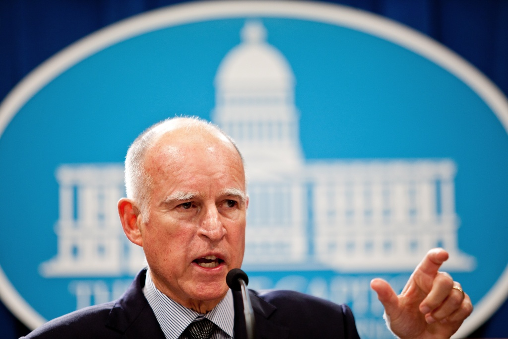 California Gov. Jerry Brown at the State Capitol in Sacramento, California, on Oct. 27, 2011.