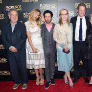 "Stephen Frears, Nina Arianda, Simon Helberg, Meryl Streep, Hugh Grant, Tracey Seaward and Nicholas Martin attend the ""Florence Foster Jenkins"" New York premiere in New York City."