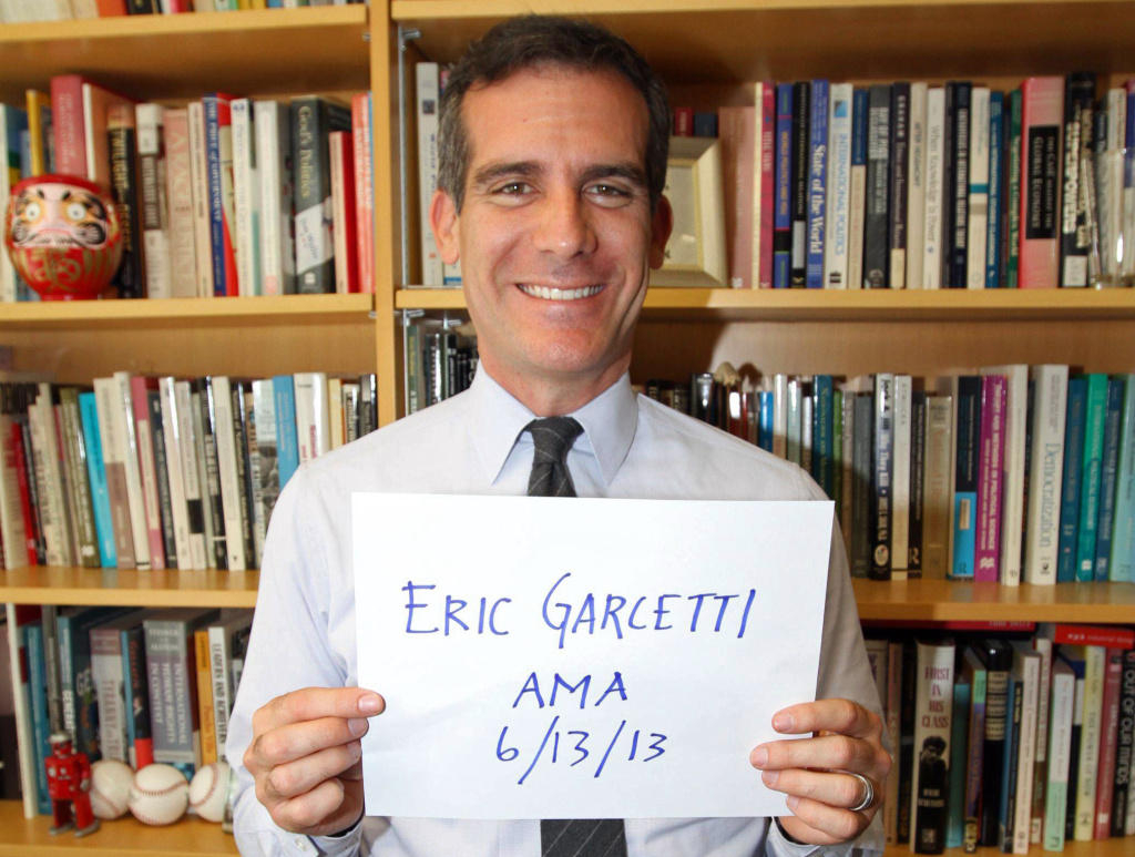 Los Angeles Mayor-elect Eric Garcetti offering the traditional proof image that the account actually belongs to him for a Reddit AMA, Thursday, June 13, 2013.