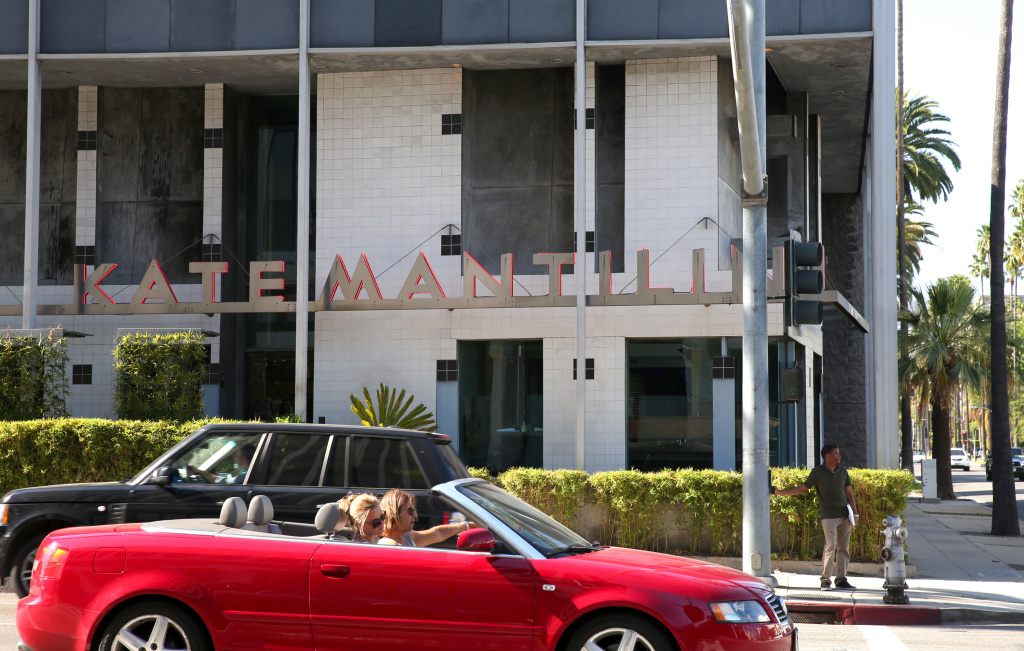 General View Of Kate Mantilini Restaurant on May 13, 2014 in Beverly Hills, California.  It was announced  today that the restaurant will be closing on June 14, 2014.