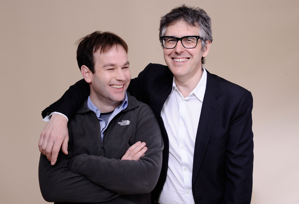 PARK CITY, UT - JANUARY 23:  Writer/director Mike Birbiglia and radio personality Ira Glass pose for a portrait during the 2012 Sundance Film Festival at the Getty Images Portrait Studio at T-Mobile Village at the Lift on January 23, 2012 in Park City, Utah.  (Photo by Larry Busacca/Getty Images)