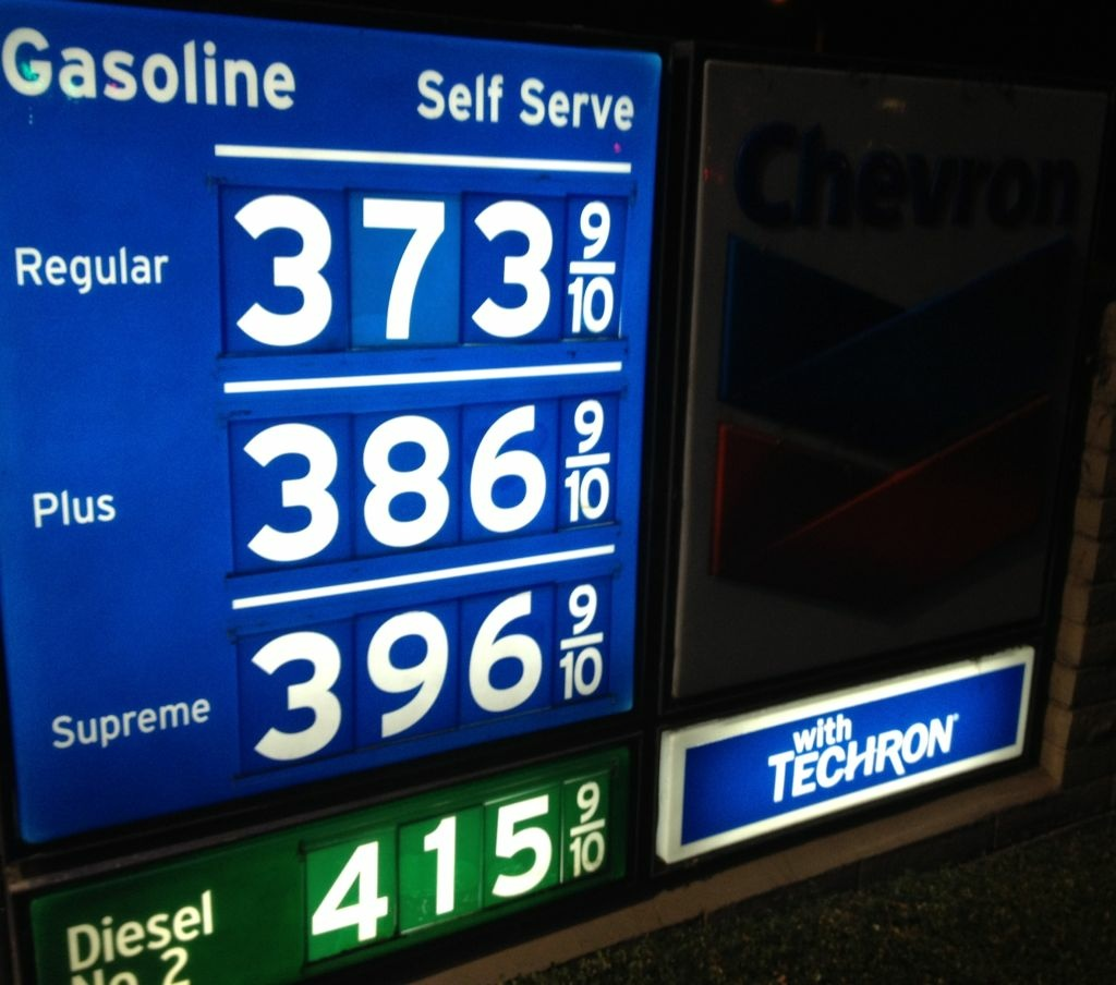 Gasoline prices at a Newport Beach station Wednesday, January 9, 2013. Gas prices have been rising in Southern California the past two weeks. But, in December, the Labor Department said falling gas and food costs pushed down U.S. wholesale prices last month for the third month in a row, the latest evidence inflation is tame.