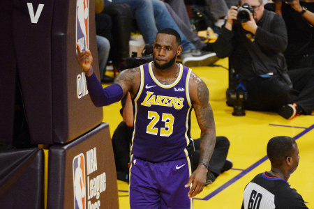 LeBron James #23 of the Los Angeles Lakers celebrates after passing Michael Jordan and moving to #4 on the NBA's all-time scoring list during the second quarter against the Denver Nuggets at Staples Center on March 06, 2019 in Los Angeles, California