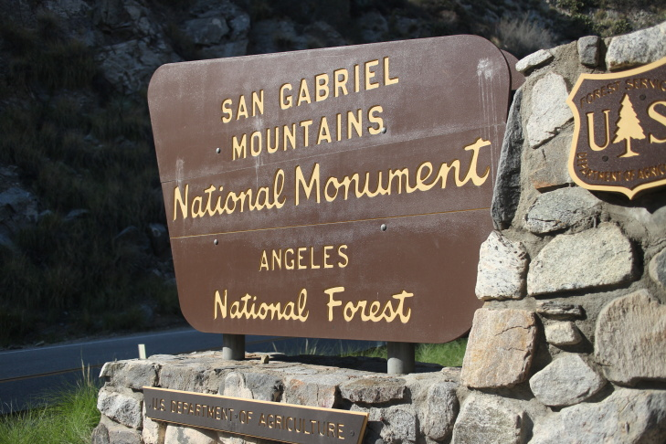 A new sign welcomes visitors to the San Gabriel Mountains National Monument, which was declared by President Obama on October 10, 2014.