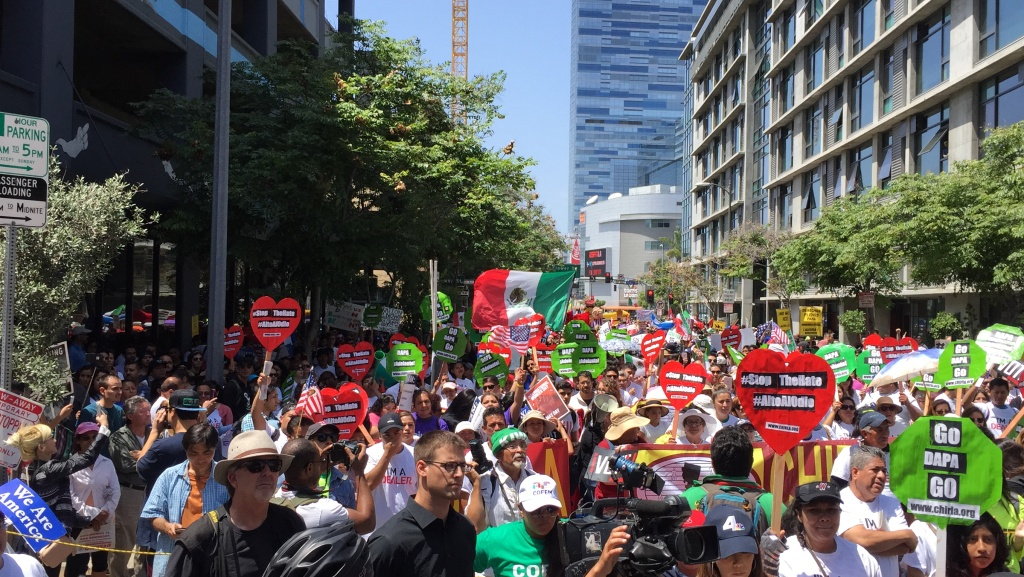 File: May Day rally in Los Angeles on Sunday, May 1, 2016.